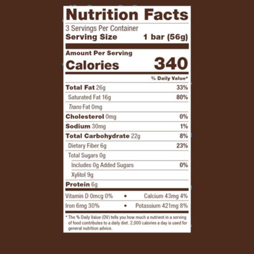 Chocolate Fuel Bars Sea Salt FACTS