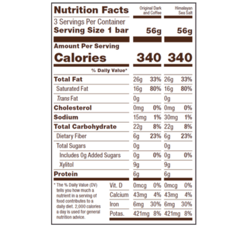 Chocolate Fuel Bars Variety Pack FACTS